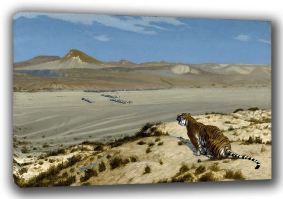 Gerome, Jean Leon: Tiger on the Watch. (Watching the Advancing Army) Fine Art Landscape Canvas. Sizes: A3/A2/A1. (002876)
